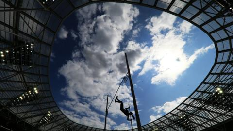 London, England, 20 July: Katerina Stefanidi, of Greece, competes in the women's pole vault during day one of the Muller Anniversary Games IAAF Diamond League event at the London Stadium. (Photo by Stephen Pond - British Athletics via Getty Images)