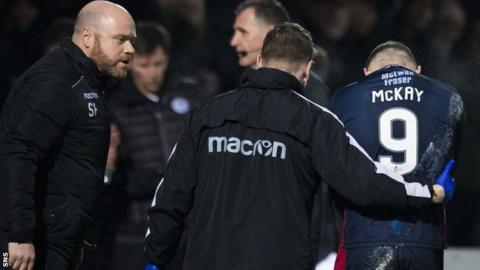 Billy McKay (right) is taken off the field in Tuesday's 3-2 win over Ayr