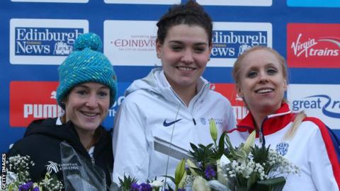 Kate Avery (centre) took silver at last month's European Cross Country when McCormack was fourth