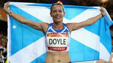 Eilidh Doyle celebrates her second place finish in the Gold Coast