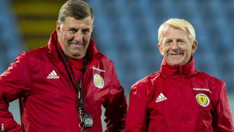 Scotland assistant Mark McGhee and team boss Gordon Strachan share a laugh in training