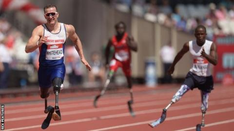 Richard Whitehead (left) in action at the Anniversary Games