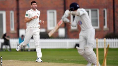 James Anderson in action for Lancashire 2nd XI