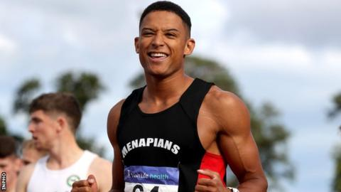 Leon Reid shows his delight after completing his sprint double at Santry