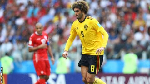 Manchester United's Marouane Fellaini in action for Belgium