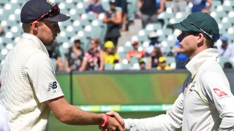 Steve Smith shakes hands with England captain Joe Root