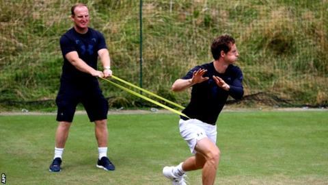 Andy Murray and trainer Matt Little