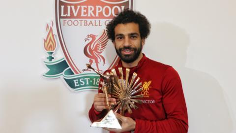 Mohamed Salah with his African Footballer of the Year trophy