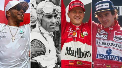 Lewis Hamilton, Tazio Nuvolari, Michael Schumacher and Aryton Senna