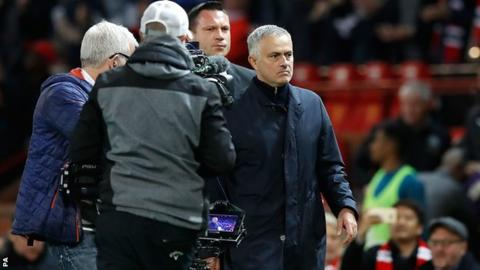 Jose Mourinho walks down the touchline after Manchester United's 3-2 win over Newcastle on Saturday