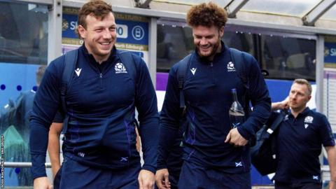 Hamish Watson (L) and Duncan Taylor are pictured departing for Japan at Edinburgh Airport, Edinburgh on September 9, 2019, in Edinburgh, Scotland. (Photo by Ross MacDonald / SNS Group)