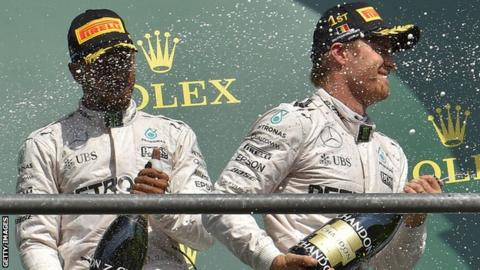 Mercedes F1 drivers Lewis Hamilton and Nico Rosberg