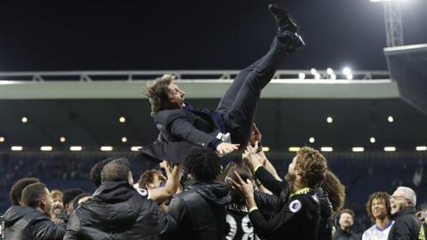 Antonio Conte thrown in celebration