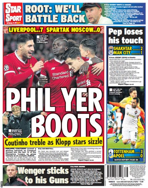 Philippe Coutinho's hat-trick for Liverpool in the Champions League dominates the Star's back page