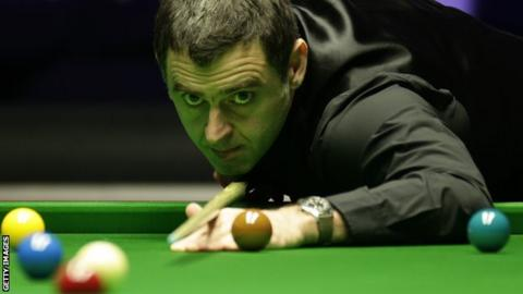 Ronnie O'Sullivan in action at the Masters