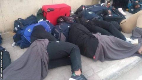 Zimbabwe players asleep on the streets