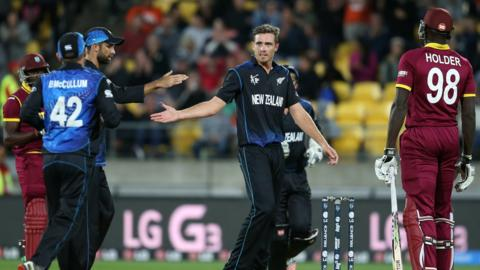 New Zealand's Tim Southee celebrates a wicket against West Indies