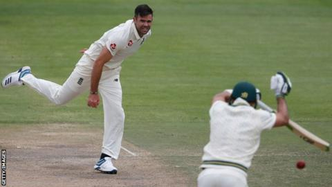 England bowler James Anderson bowls during the second Test against South Africa