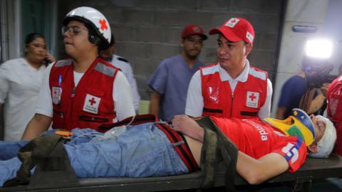 A football fan is injured in Honduras
