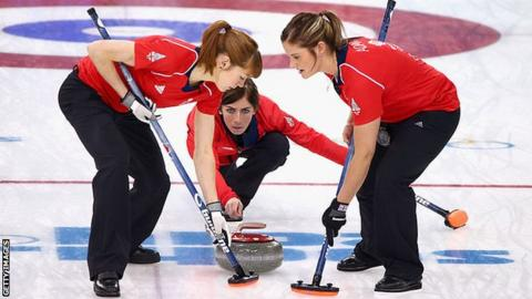 Eve Muirhead (centre), Claire Hamilton (left) and Vicki Adams (right)