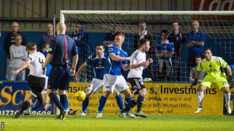 Mark Docherty scores for Ayr United against Stranraer