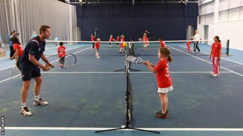 Children's coaching at the indoor facility at Edgbaston Priory Club