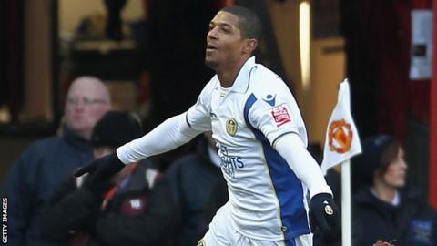 Jermaine Backford scores for Leeds United at Manchester United in January 2010