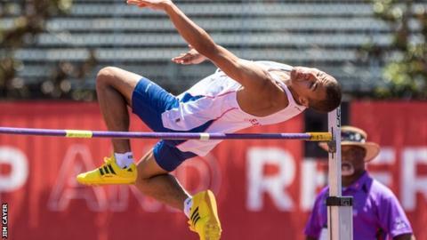 Great Britain's Jordan Okonta in the high jump