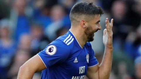 Callum Paterson celebrates scoring for Cardiff