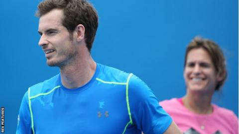 "Andy Murray said he had ""learned a lot"" from his coach Amelie Mauresmo"