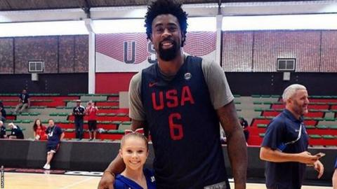 US gymnast Ragan Smith who is 4ft 6in with 6ft 9in NBA star DeAndre Jordan