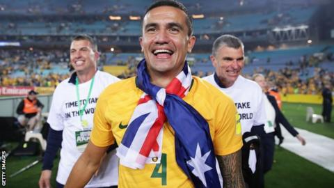 Tim Cahill celebrates Australia's World Cup play-off victory over Honduras