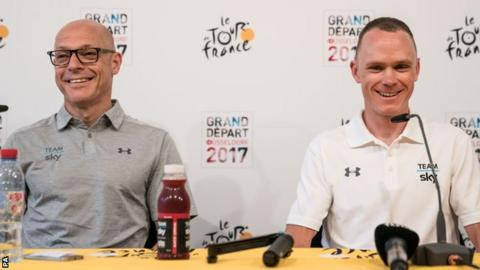 Froome (right) is close to extending his stay with Team Sky who are run by Brailsford (left)