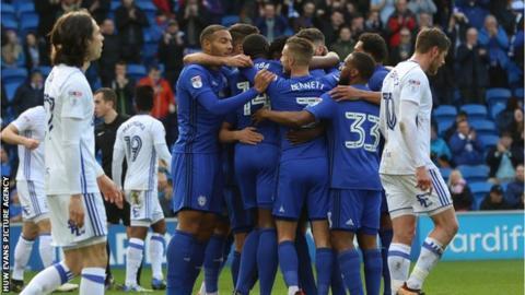 Cardiff celebrate a goal