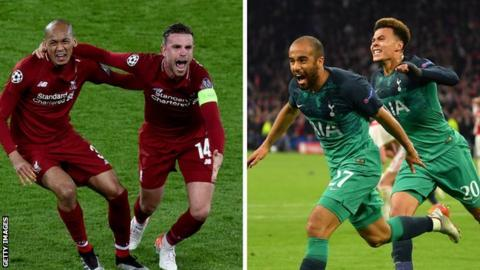 Liverpool's Fabinho and Jordan Henderson (left) and Tottenham's Lucas Moura and Deli Alli celebrate reaching the Champions League final