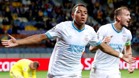 PSV Eindhoven striker Donyell Malen celebrates after scoring a late winner against BATE Borisov
