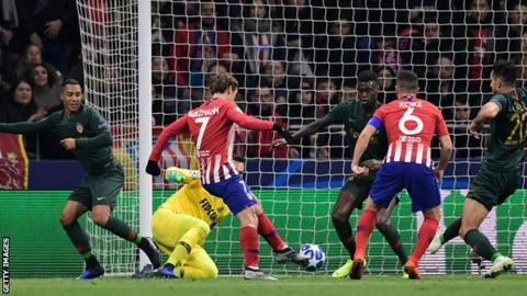 atletico madrid 2 0 monaco antoine griezmann on target as hosts