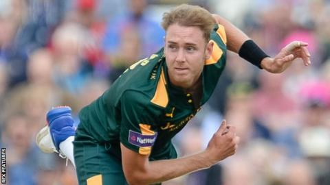 Stuart Broad playing for Nottinghamshire