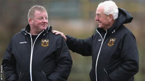 Dorian West (left) with Northampton's technical coaching consultant Alan Gaffney