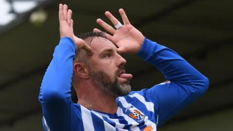 Kris Boyd celebrates his hat-trick for Kilmarnock
