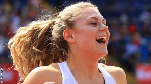 Beth Dobbin celebrates winning the 200m at the British Championships