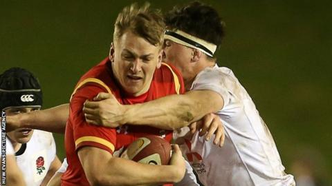 Alex Dombrandt (left) in action for Wales Under-20s
