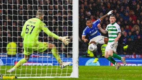 Alfredo Morelos shoots for Rangers against Celtic