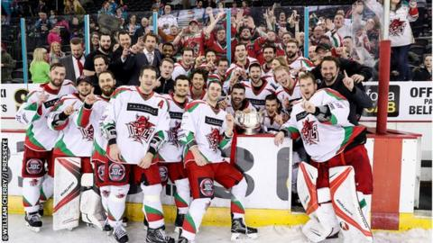 Cardiff Devils team celebrate with travelling fans