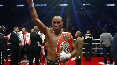 James DeGale celebrates with his world title belt