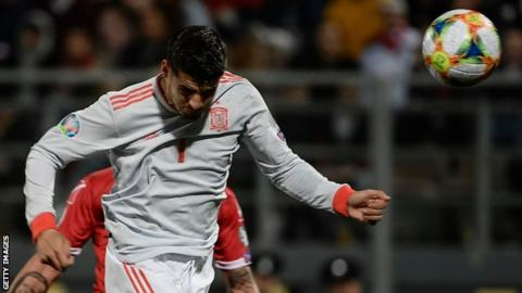 Alvaro Morata scores Spain's second against Malta