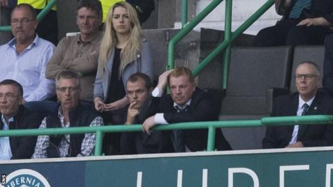 Hibernian head coach Neil Lennon watches the Asteras Tripolis game from the stands