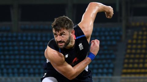 England fast bowler Liam Plunkett bowling in practice in Sri Lanka