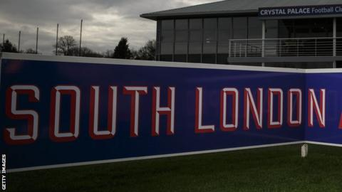A sign reading 'South London' at the Crystal Palace training ground in Beckenham