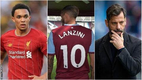 Trent Alexander-Arnold, Manuel Lanzini and Quique Sanchez Flores